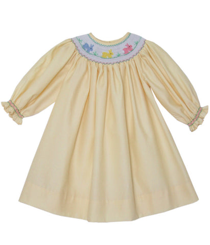 Hand Smocked Yellow Girls Bishop Dress with the Easter Bunny and Long Sleeves--Carousel Wear - 1