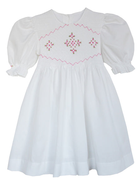 Toddler girls white easter smocked dress