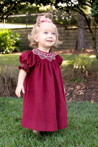 Fall Winter Hand Smocked Burgundy Girls Bishop Dress