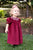 Winter Christmas Hand Smocked Burgundy Baby Girls Bishop Dress