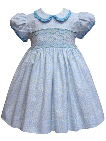 Beautiful blue floral hand smocked girls dress