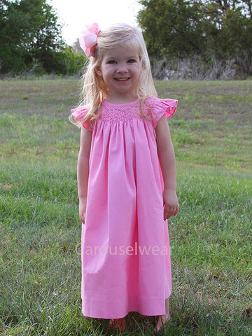 Girls Smocked Summer Pink Bishop Dress