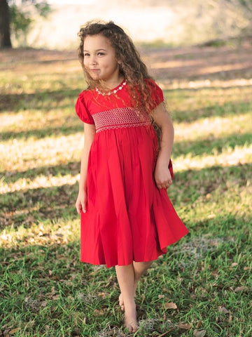 Hand Smocked Girls Red Special Occasion Dress