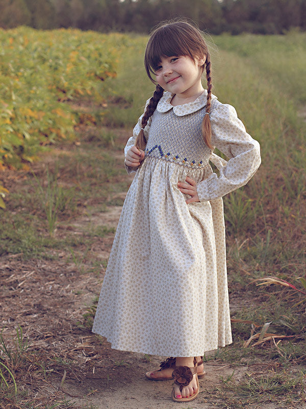 Girls Hand Smocked Fall Dress with Long Sleeves