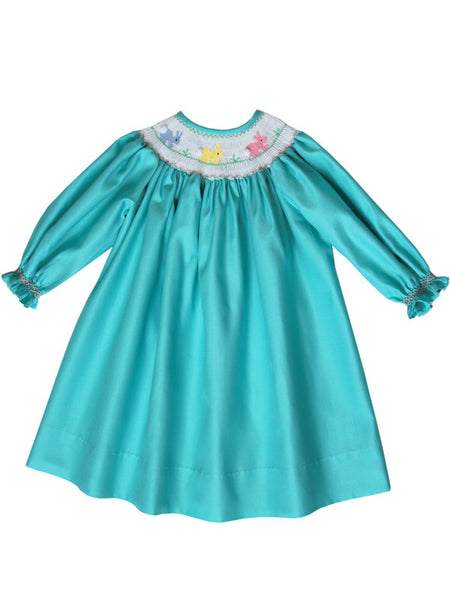 Aquamarine Girls Bishop Dress with Smocked Easter Bunny and Long Sleeves--Carousel Wear - 1