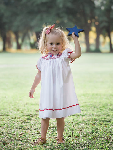 Independence Day White Girls Smocked USA Flag Bishop Dress