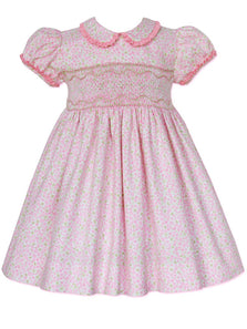 Pink Floral Heirloom Girls Easter Smocked Dress
