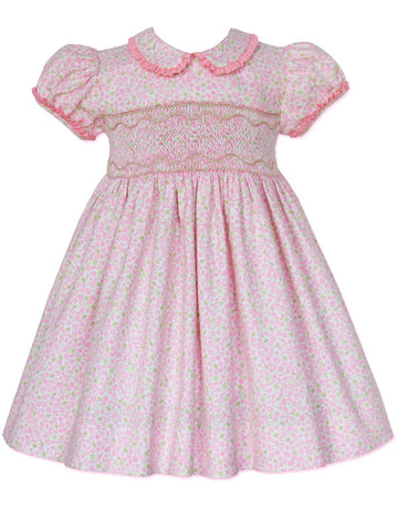 Pink Floral Heirloom Girls Smocked Dress