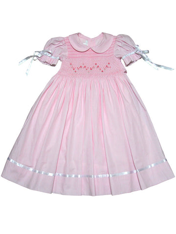 Girls pink smocked dress