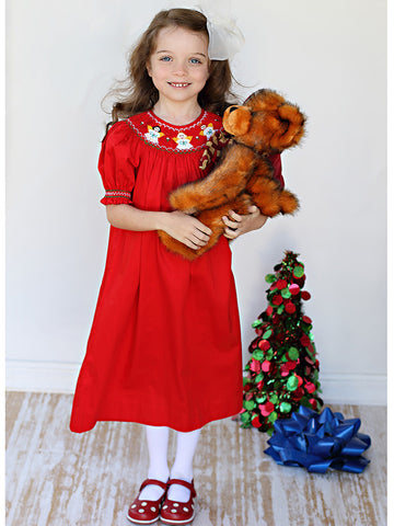 Classic Girls Red Christmas Dress Smocked Angels