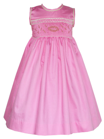 Girls Spring Summer Sleeveless Pink Smocked Dress 3T