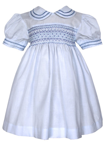 Girls Smocked Heirloom Blue Dress 24m / 2T