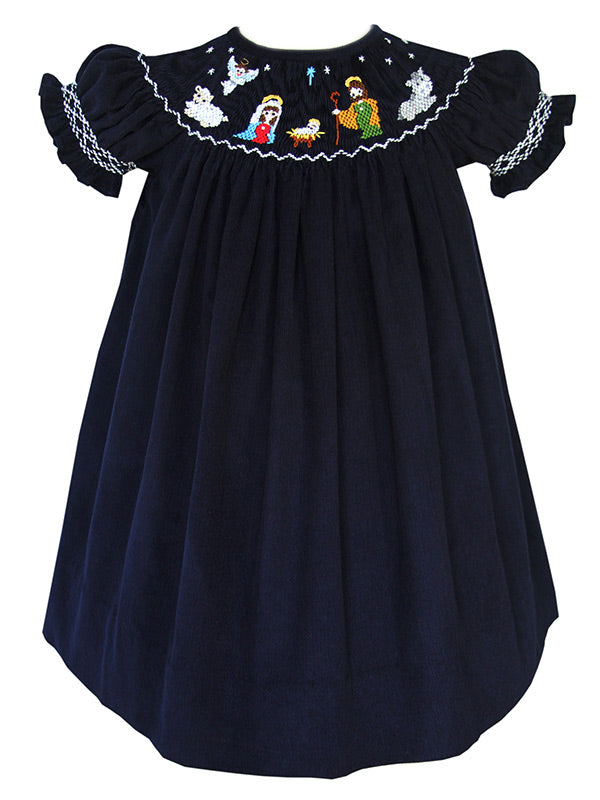 Hand Smocked Girls Chirstmas Dresses in Corduroy
