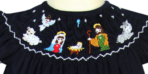 Girls Smocked Nativity of Jesus Bishop Dress In Navy Corduroy--Carousel Wear - 2