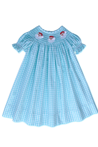Santa Claus Girls Christmas Smocked Bishop Dress in Turquoise