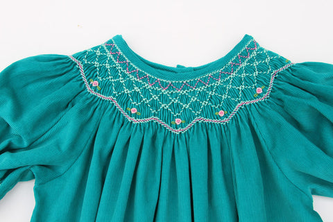 Girls Smocked Winter Bishop Dress in Teal Corduroy