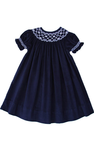 Holiday Navy Boys Smocked Jon Jon Shortall
