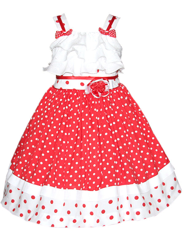 Red Polka Dots Girls Summer Dress Disney Minnie Mouse
