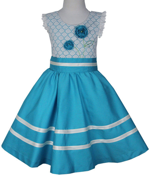 Girls Twirly Turquoise Lace Dress--Carousel Wear - 1