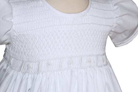 Hand Smocked All White Communion Girls Dress
