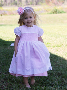 Hand smocked girls white dresses and clothing