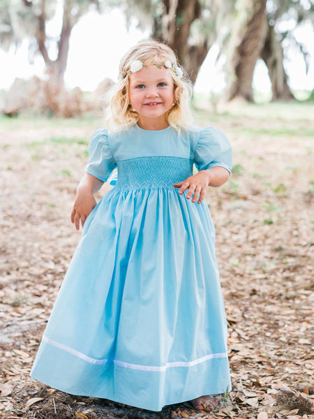 Girls Smocked Blue Heirloom Ribbon Dress