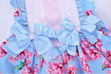 Vintage Pink and Blue Floral Girls Dress and Lace 4T