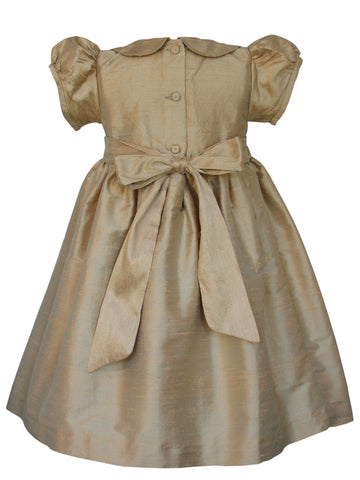 Elegant Baby Girls Silk Smocked Dress