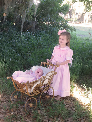 Girls pink heirloom dress