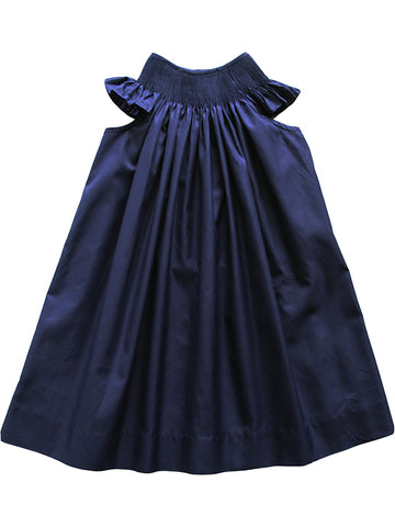 Ready to Smock Girls Summer Pleated Navy Bishop Dress