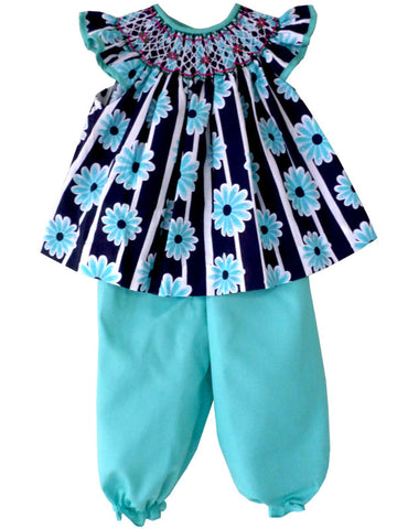 Girls Spring Summer Smocked Blue Dress with Turquoise Pants