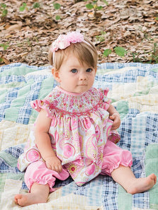 Baby Girls Pink Paisley Smocked Summer Bishop Dress Set