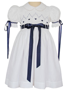 Girls Smocked Heirloom White Dress with Navy Ribbons 2T