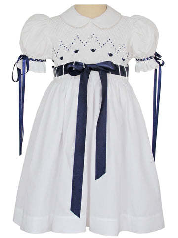 Girls Smocked Heirloom White Dress with Navy Ribbons