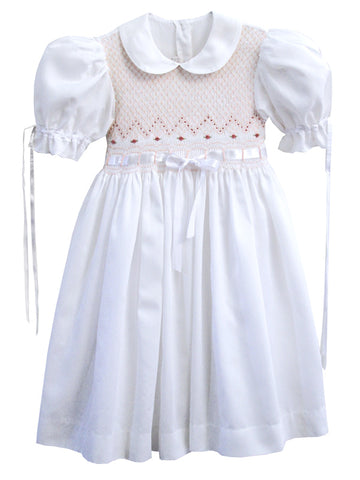 Girls White Heirloom Easter Ribbon Dress Size 6