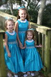 Girls Silk Pageant Sleeveless Dress in Turquoise--Carousel Wear - 7
