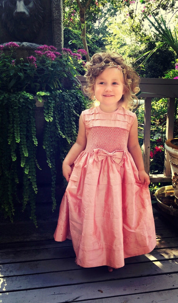 Coral Silk Smocked Dress for Pageants or a Stunning Flower Girls--Carousel Wear - 1