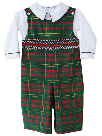 Baby Boys Christmas Outfits Smocked Green Tartan PREORDER