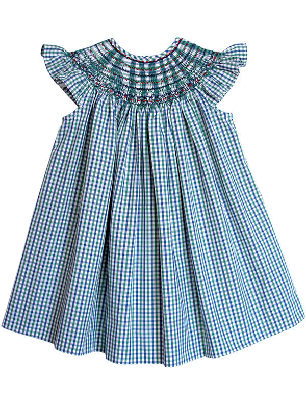 Baby Girls Hand Smocked Green Gingham Bishop Dress