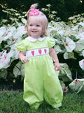 fine baby girls smocked Strawberry romper long bubble