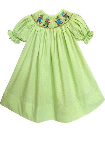 Halloween Green Witches Smocked Girls Bishop Dress 5 and 6