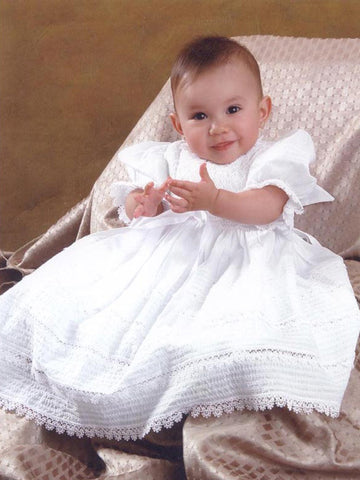 Hand Smocked Heirloom Christening Baptism Gown