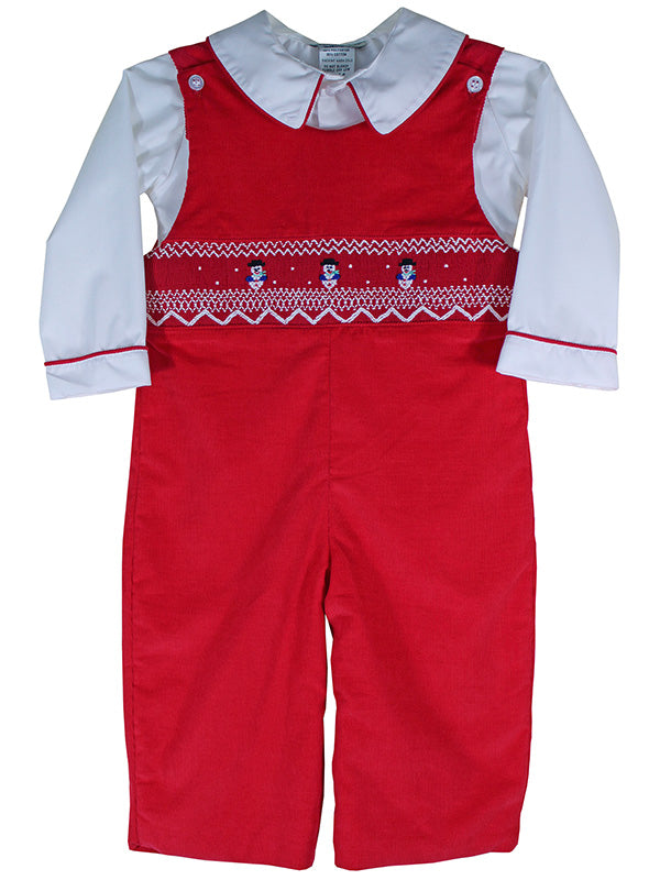 Red Smocked Snowman Boys Christmas Outfits Longalls