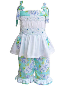 Girls Summer Smocked top and Ruffled Capri Pants 2pc set