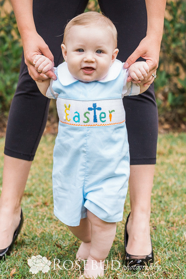Fine Easter Outfits for Little Boys Hand Smocked Bunny Longall Overalls Set
