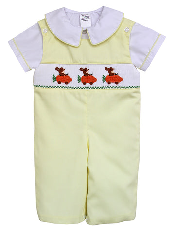 Smocked Easter Bunny Boys Longall Outfit
