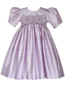 Lavender Silk Girls Hand Smocked Heirloom Dress