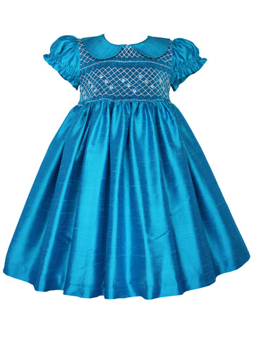 Turquoise silk hand smocked girls dress