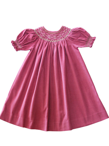 Girls Hand Smocked Easter Bishop Dress In Rose Pink