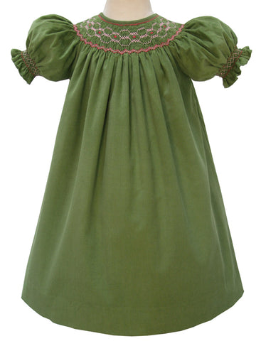 Fall smocked girls dresses in pinwale corduroy